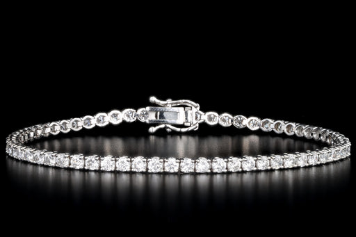 New 14K White Gold 3.87 Carat Total Weight Round Brilliant Diamond Tennis Bracelet - Queen May