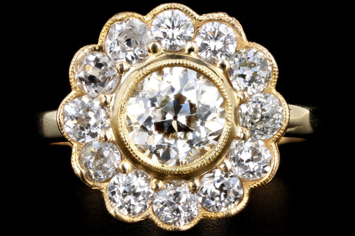 Edwardian Conversion 14K Yellow Gold 1.11 Carat Old European Cut Diamond Halo Ring GIA Certified - Queen May