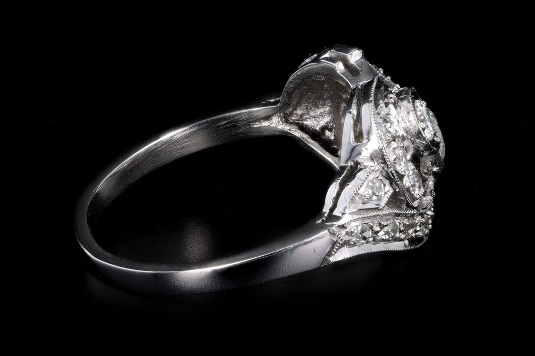Art Deco Platinum .75 Carat Total Weight Old European Diamond Ring - Queen May