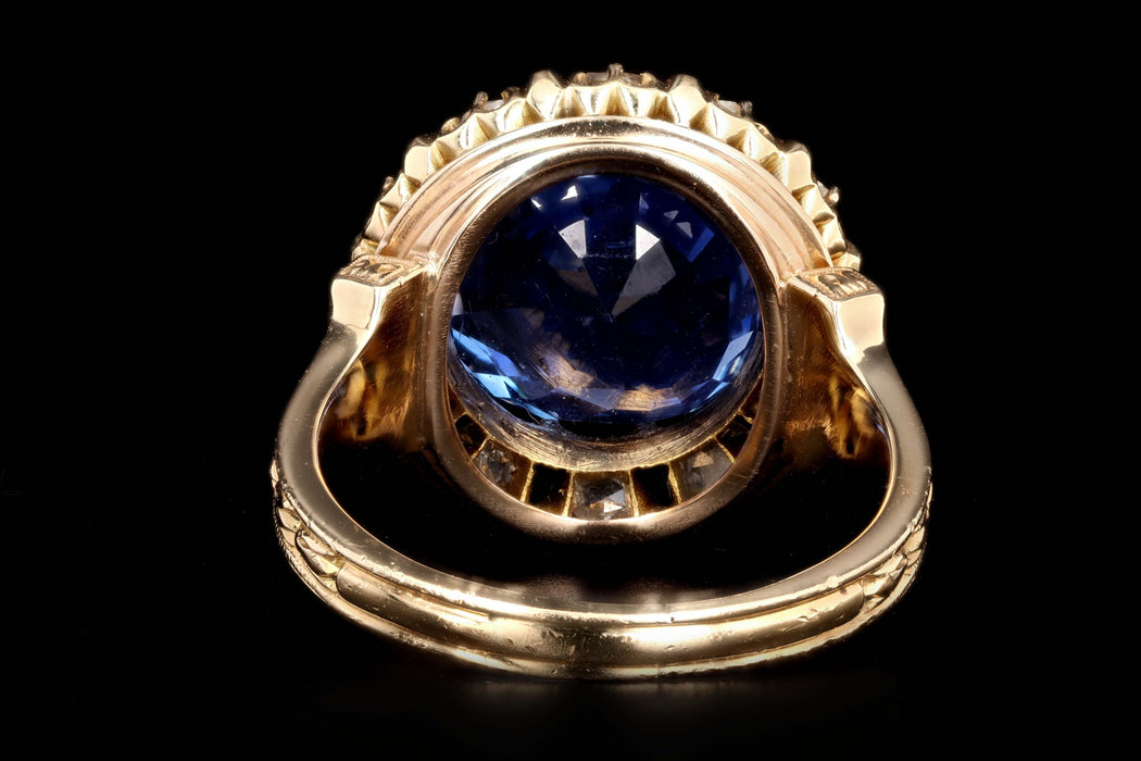 Victorian 18K Yellow Gold Untreated 10.73 Carat Cornflower Blue Burma No Heat Sapphire & Diamond Ring SSEF Certified - Queen May