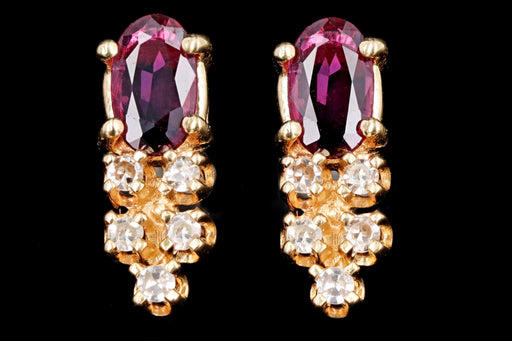 Vintage 14K Yellow Gold Natural Ruby & Diamond Stud Earrings - Queen May