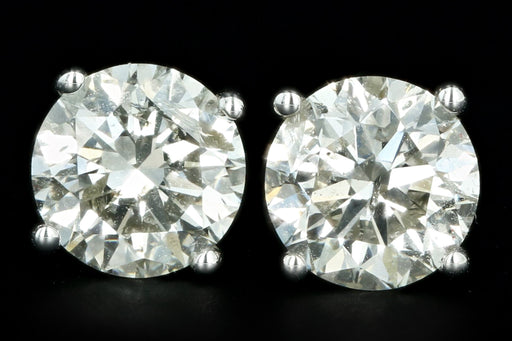 New 14K White Gold 2.01 Carat Round Brilliant Diamond Stud Earrings - Queen May