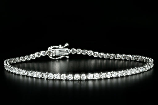 New 14K White Gold 3.25 Carat Round Brilliant Diamond Tennis Bracelet - Queen May