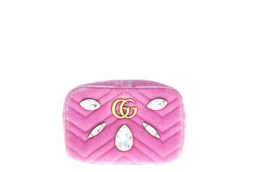 Gucci GG Marmont Shoulder Bag Mini Velvet Crystal Pink - Queen May
