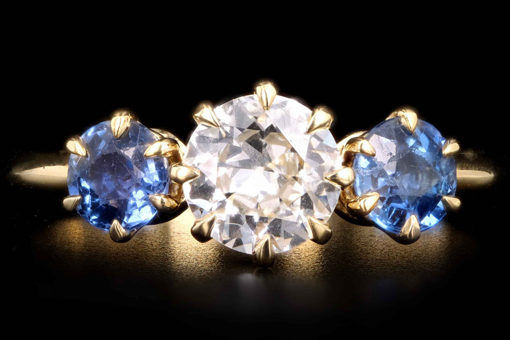 New Vintage Inspired 18K Yellow Gold .65 Carat Old European Cut Diamond & Yogo Gulch Sapphire Ring - Queen May