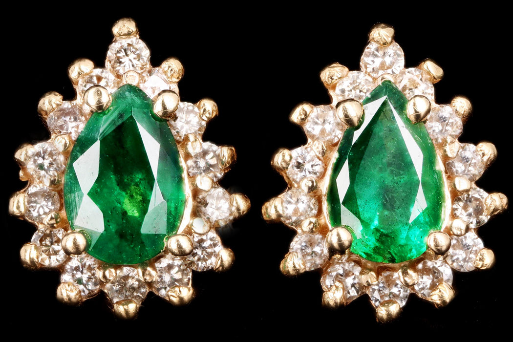 Vintage 14K Yellow Gold Natural Emerald & Diamond Halo Stud Earrings - Queen May