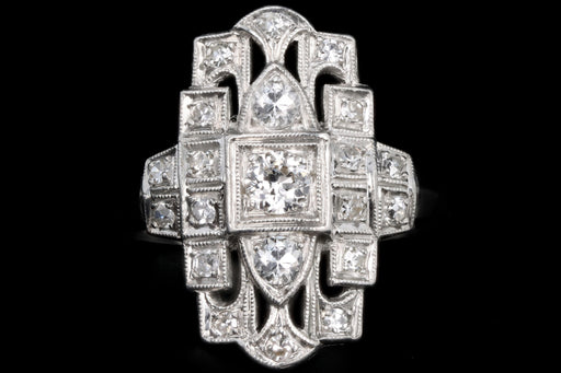 Art Deco Platinum .50 Carat Total Weight Old European Cut Diamond Shield Ring - Queen May