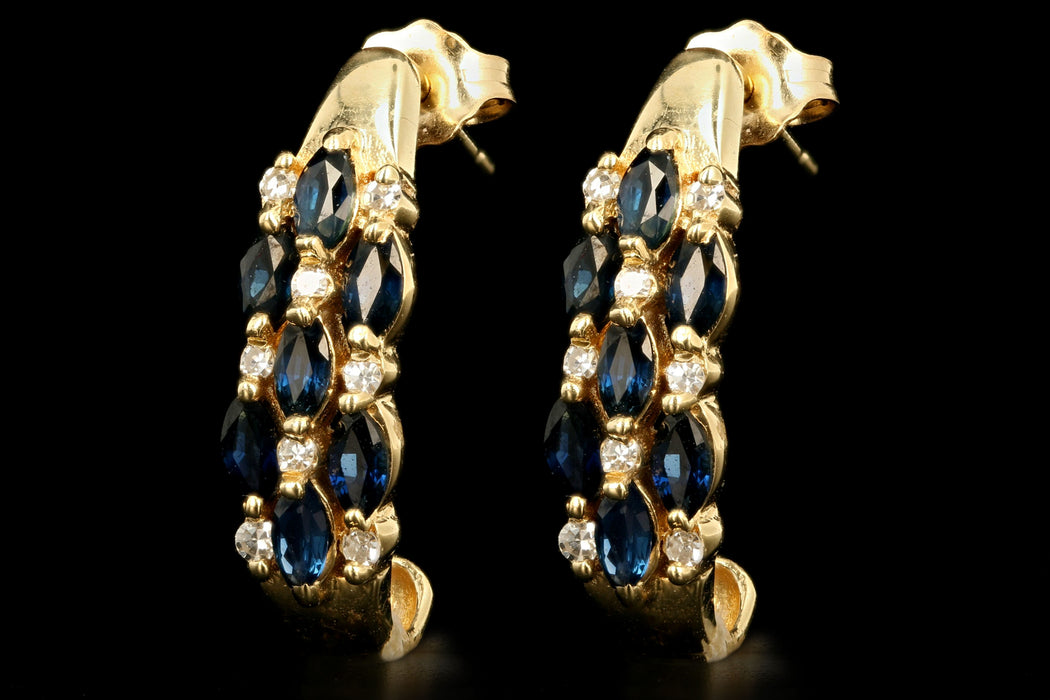 Vintage 14K Yellow Gold Natural Sapphire & Diamond Hoop Earrings - Queen May