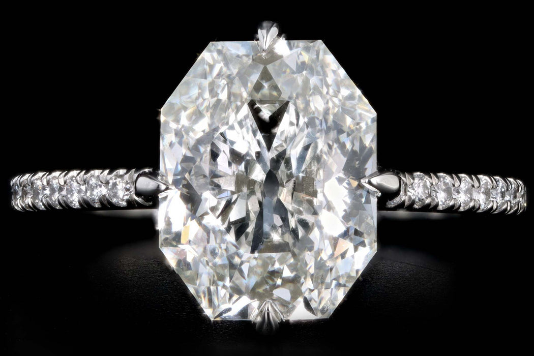 New Platinum 3.30 Carat Antique Radiant Cut Diamond Engagement Ring GIA Certified - Queen May