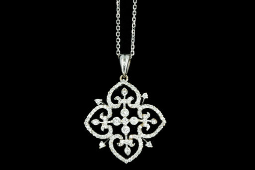 Modern 18K White Gold .65 Carat Round Brilliant Diamond Pendant Necklace