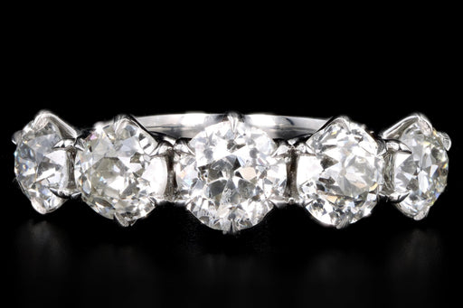 New Vintage Inspired Platinum 3.16 Carat Total Weight Old European Cut Diamond Five Stone Band - Queen May