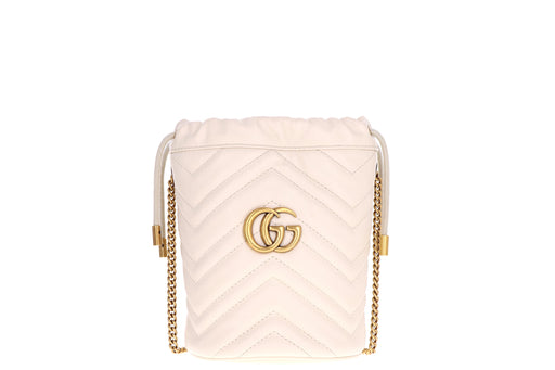Gucci GG Marmont Mini Bucket White Leather - Queen May