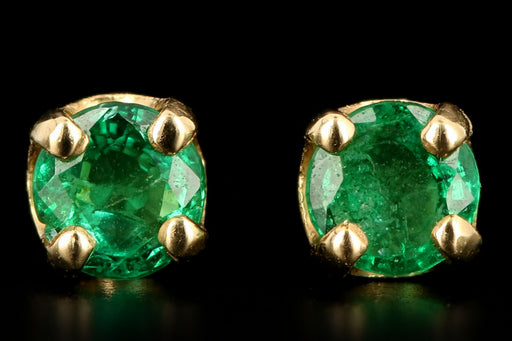 Modern 14K Yellow Gold .25 Carat Round Natural Emerald Stud Earrings - Queen May