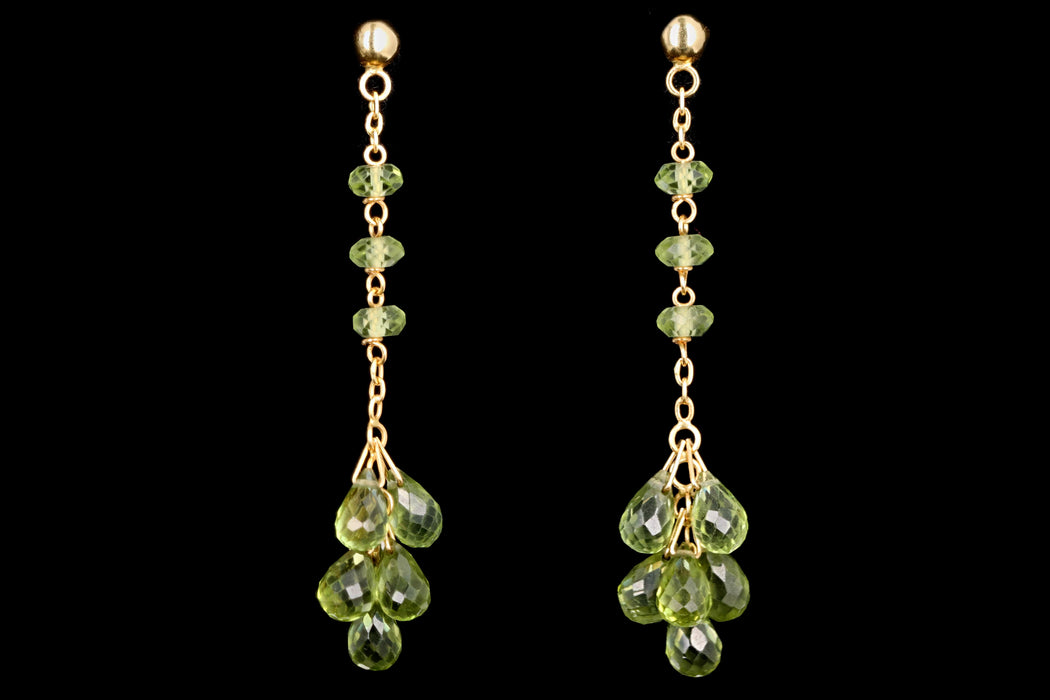 Modern 14K Yellow Gold Briolette Cut Peridot Drop Earrings - Queen May