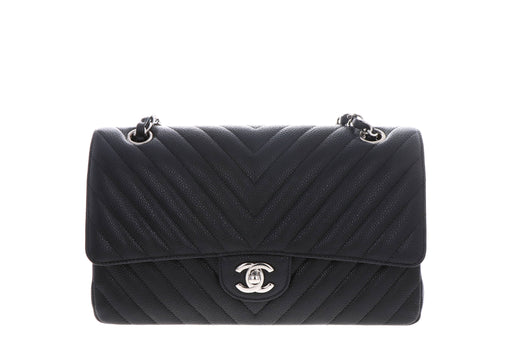 Chanel Caviar Medium Double Flap Black W/ Silver Hardware - Queen May