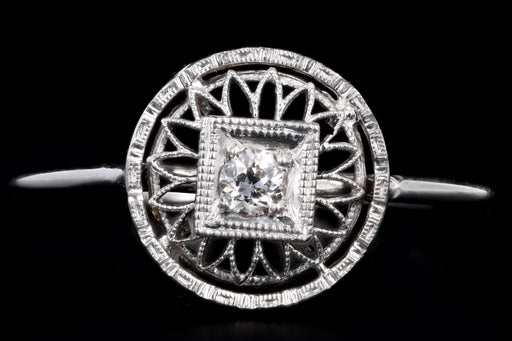 Art Deco 14K White Gold Old European Cut Diamond Stick Pin Conversion Ring - Queen May
