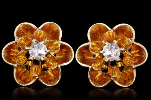 Victorian 14K Yellow Gold .08 Carat Diamond Buttercup Earrings - Queen May