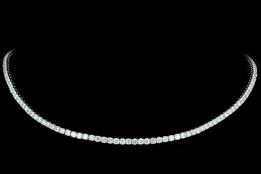 New 14K White Gold 8.89 Carat Round Brilliant Diamond Tennis Choker Necklace - Queen May