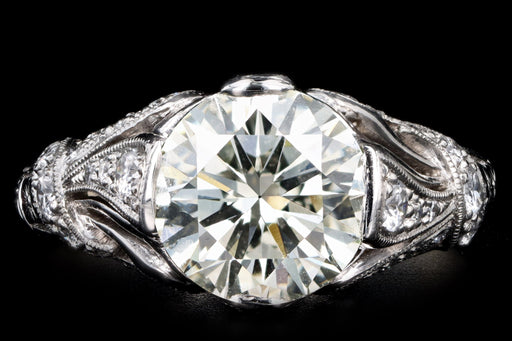 Art Deco Inspired 2.12 Carat Round Brilliant Cut Diamond Engagement Ring - Queen May