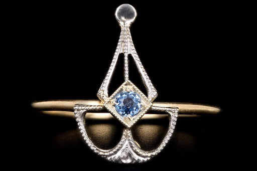 Art Deco 14K Gold Natural Sapphire Stick Pin Conversion Ring - Queen May