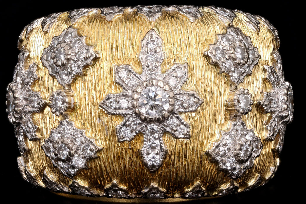 Modern 18K Yellow Gold Florentine Finish Diamond Cigar Band - Queen May