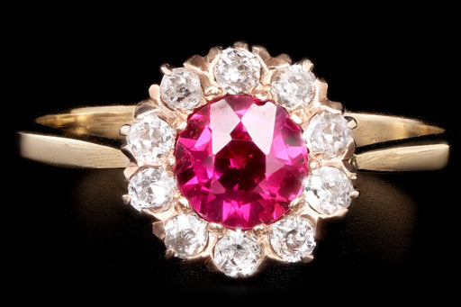 Victorian 14k Yellow Gold Synthetic Ruby & Diamond Stick Pin Conversion Ring - Queen May