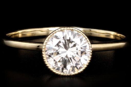 New 18K Yellow Gold .83 Carat Round Brilliant Diamond Bezel Engagement Ring - Queen May