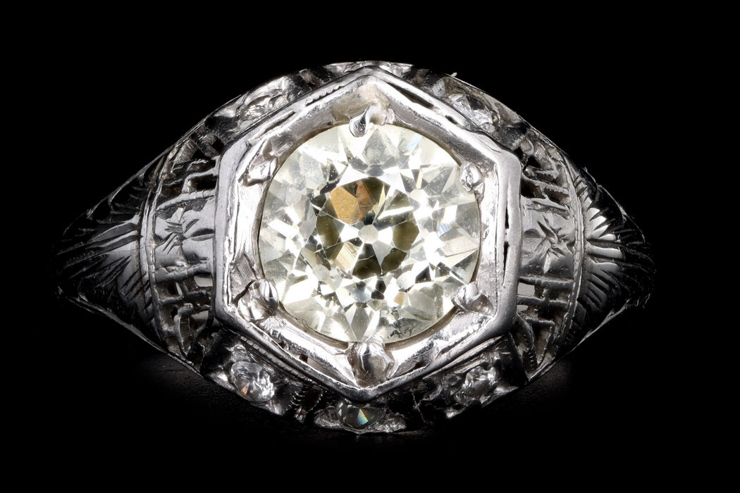 Art Deco 18K White Gold 1.32 Carat Old European Cut Light Yellow Diamond Engagement Ring - Queen May