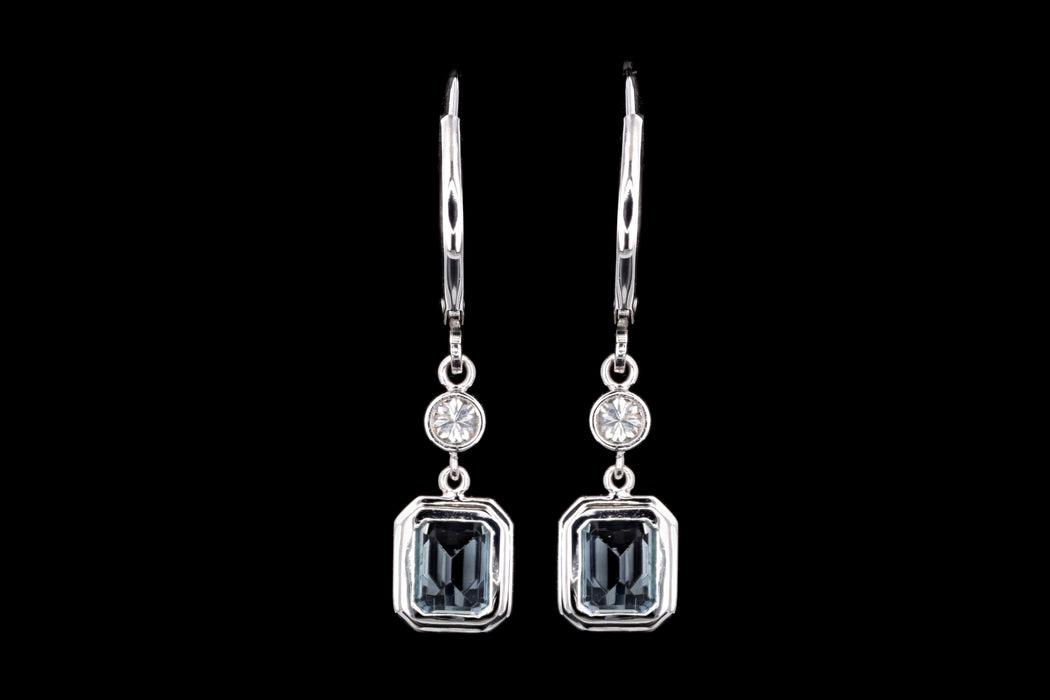 New 18K White Gold 2.12 Carat Emerald Cut Aquamarine & Diamond Drop Earrings - Queen May