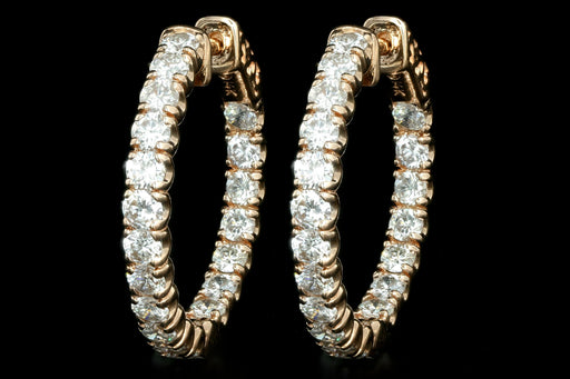 New 14K Rose Gold 3.05 Carat Round Brilliant Diamond Hoop Earrings - Queen May