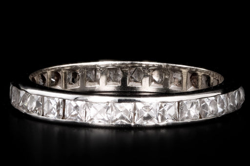 Art Deco 14K White Gold 1.5 Carat Total Weight French Cut Diamond Channel Eternity Wedding Band - Queen May