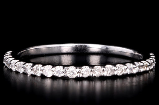 Modern 14K White Gold .15 Carat Total Weight Diamond Half Eternity Wedding Band - Queen May
