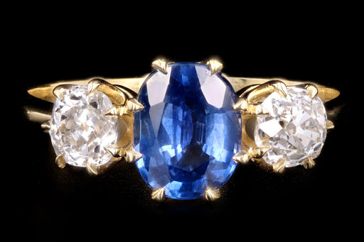 New Vintage Inspired 18K Yellow Gold 1.30 Carat Natural Sapphire & Old Mine Diamond Ring - Queen May