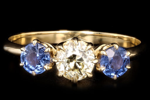 New Vintage Inspired 18K Yellow Gold Light Yellow Old European Cut Diamond & Sapphire Ring - Queen May