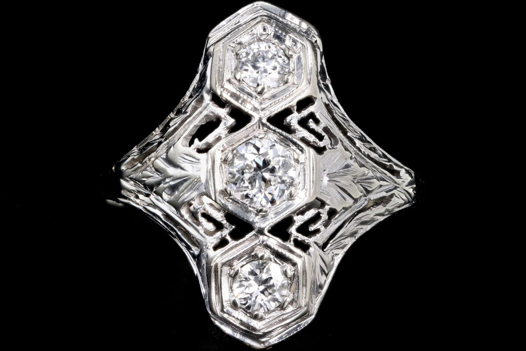 Art Deco 18K White Gold Old European Cut Diamond Filigree Ring
