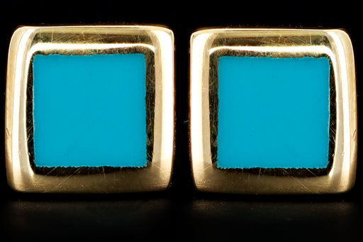 New 14K Yellow Gold Turquoise Blue Enamel Square Stud Earrings - Queen May