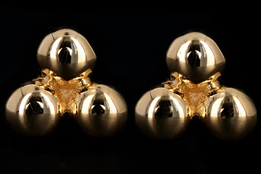 New 14K Yellow Gold Bead Cluster Earrings - Queen May
