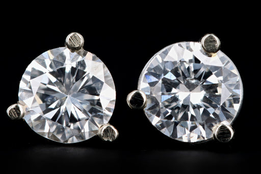 New 14K White Gold .51 Carat Round Brilliant Diamond Martini Stud Earrings - Queen May