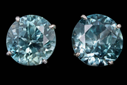 New 14K White Gold 9.19 Carat Total Round Cut Blue Zircon Stud Earrings - Queen May