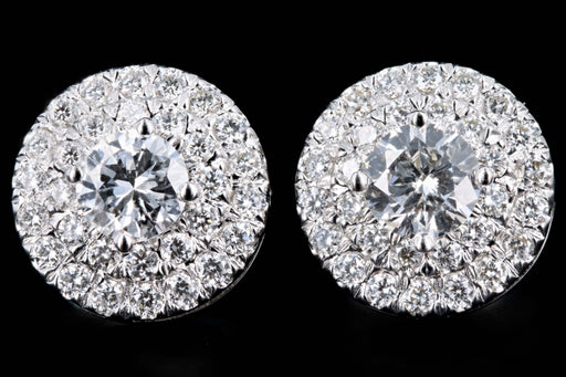 New 18K White Gold .95 Carats Total Round Brilliant Cut Diamond Double Halo Stud Earrings - Queen May