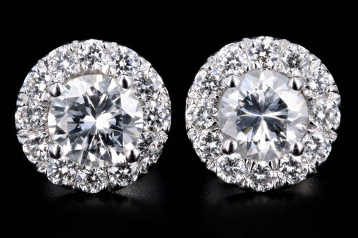 New 18K White Gold .75 Carat Round Brilliant Cut Diamond Halo Stud Earrings - Queen May