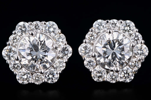 New 18K White Gold .80 Carats Total Round Brilliant Cut Diamond Halo Stud Earrings - Queen May