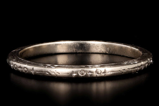 Retro 18K White Gold Wedding Band Hallmarked N.L. to M.L. 7-5-42 - Queen May