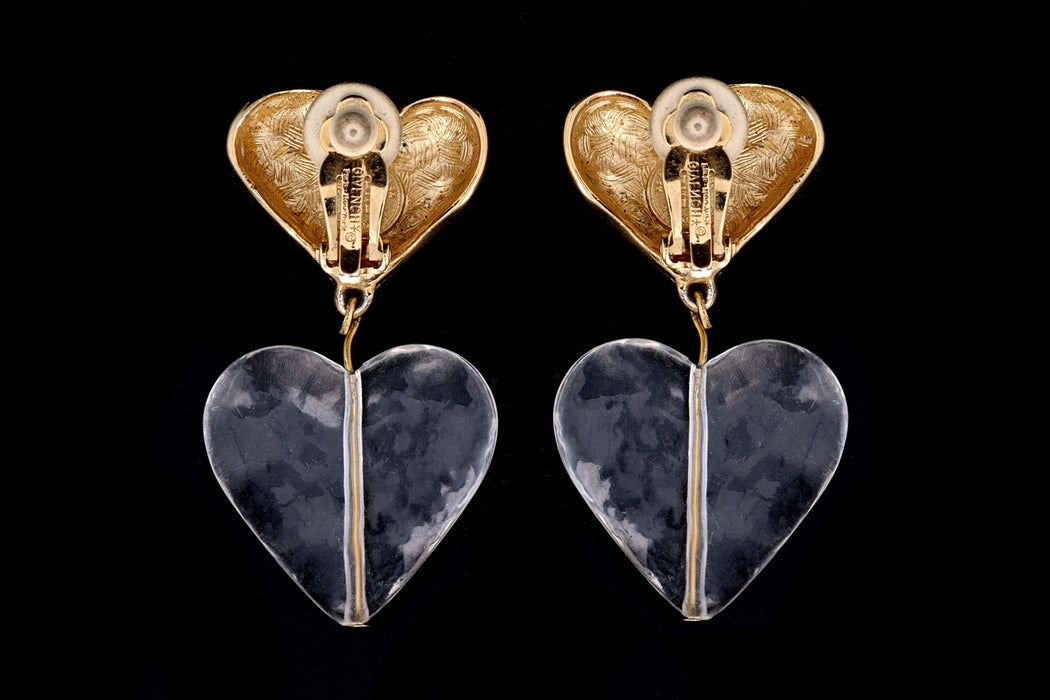 Vintage Givenchy Double Heart Gold Tone Lucite Clip- On Earrings - Queen May