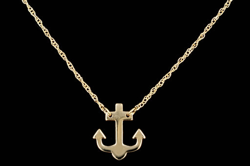 New 14K Yellow Gold Anchor Pendant Necklace - Queen May