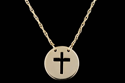 New 14K Yellow Gold Cross Pendant Necklace - Queen May