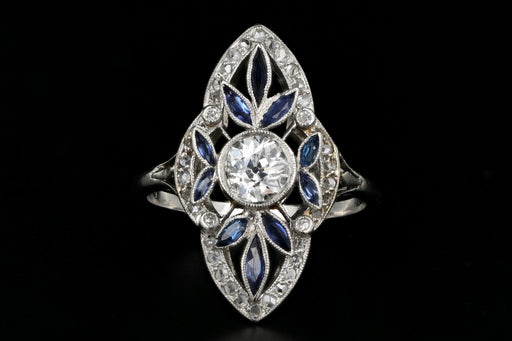 Rare Platinum Art Deco Natural Sapphire and Diamond Ring - Queen May