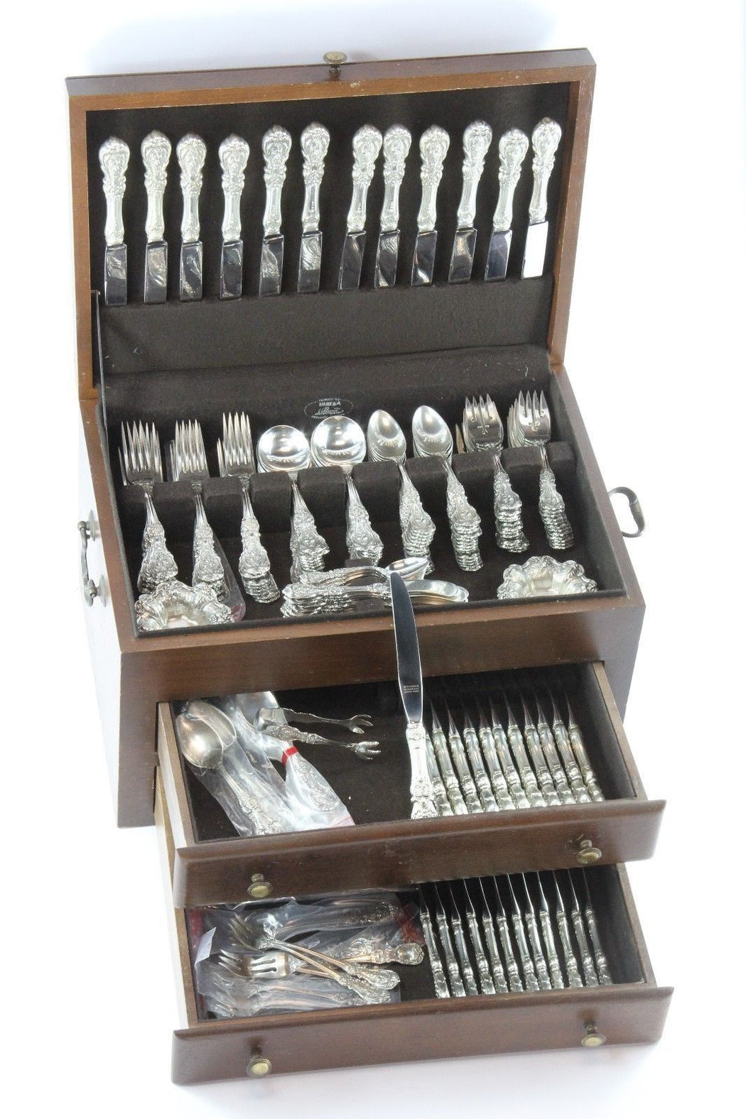 Reed & Barton 181 Piece Set Francis I Pattern Sterling Silverware Set Serves 24 - Queen May
