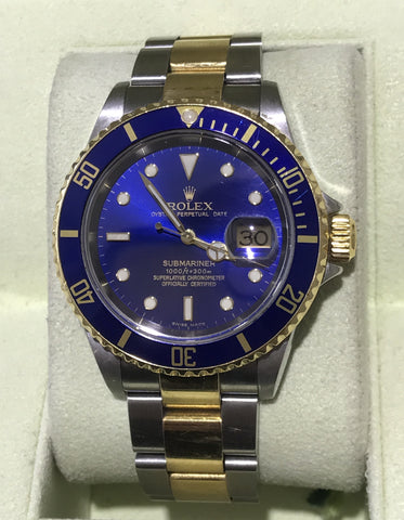 Rolex Submariner Two Tone Blue Face model 16613 Circa 2005