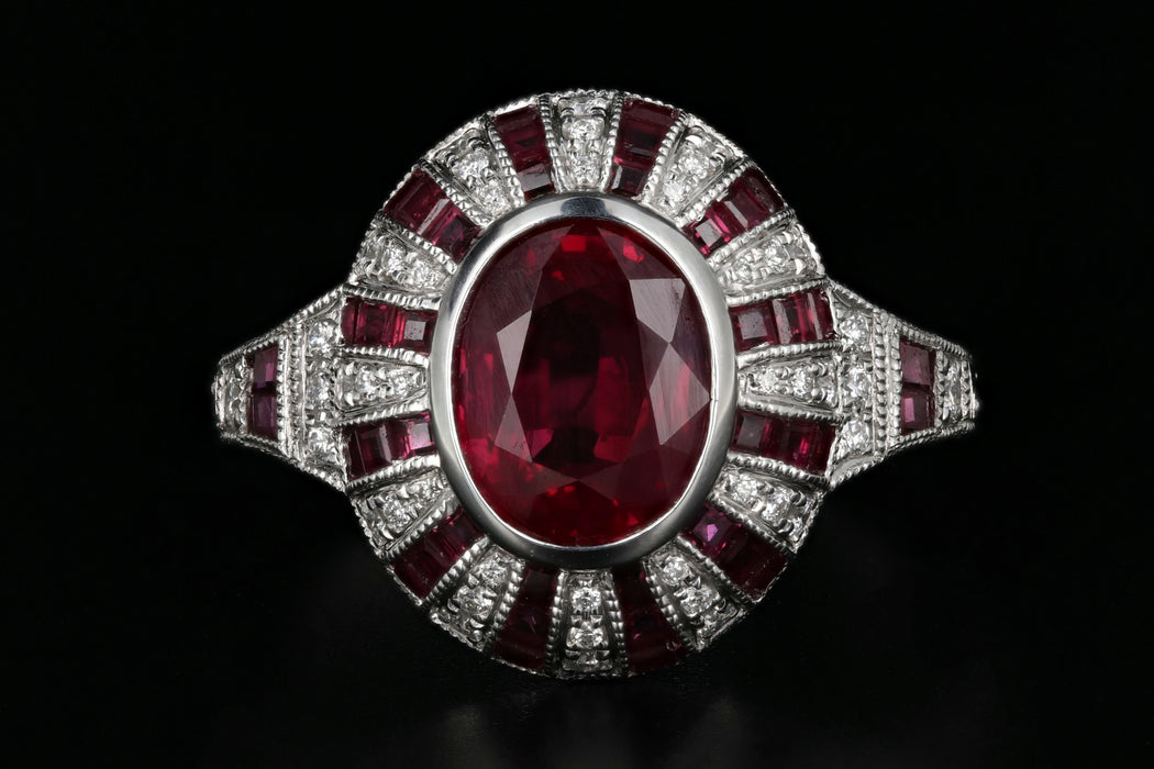 New 14K White Gold 2.11 Carat Natural Burma Ruby & Diamond Ring GIA Certified - Queen May